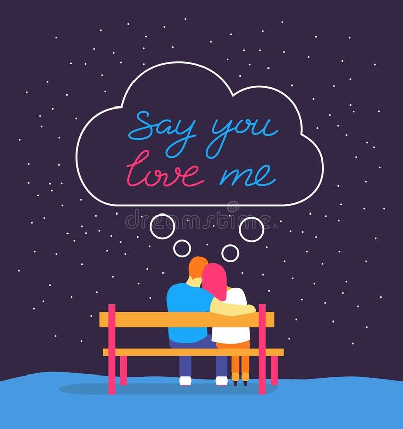 La silueta romántica de pares de amor se sienta en banco debajo del cielo nocturno Dígale para amarme para dar las letras exhaust stock de ilustración