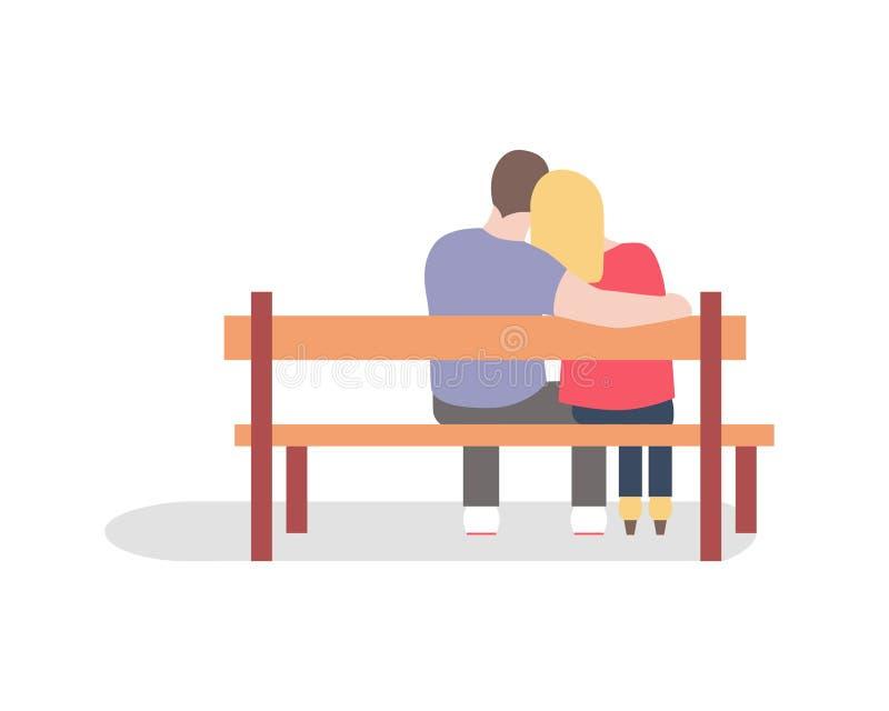 La silueta romántica de pares cariñosos se sienta en un banco foto de archivo