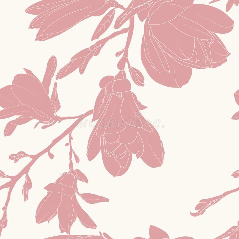 La silueta rosada de la magnolia florece el modelo inconsútil minimalista ilustración del vector