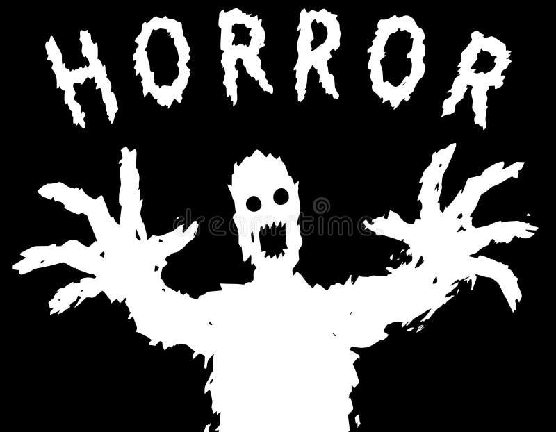 La siluetta arrabbiata del mostro con gli occhi d'ardore estrae le sue mani Illustrazione di vettore illustrazione di stock