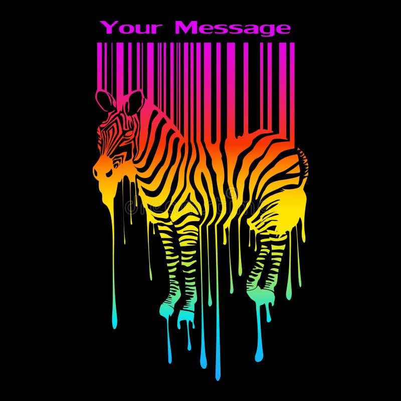 La siluetta astratta della zebra con il codice a barre illustrazione vettoriale