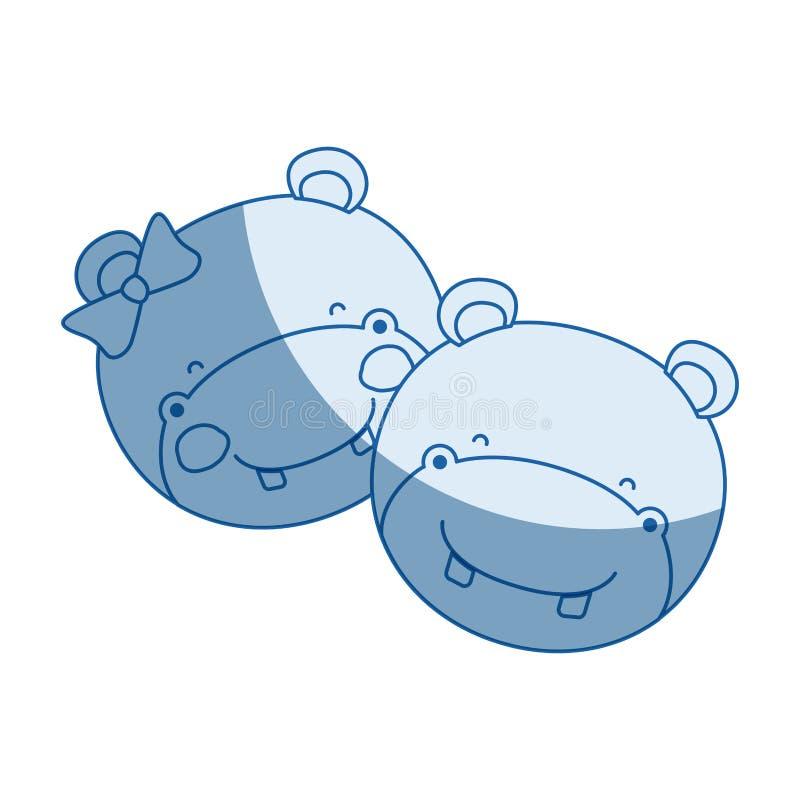 La siluetta blu di ombreggiatura di colore affronta dell'espressione animale di felicità delle coppie dell'ippopotamo royalty illustrazione gratis