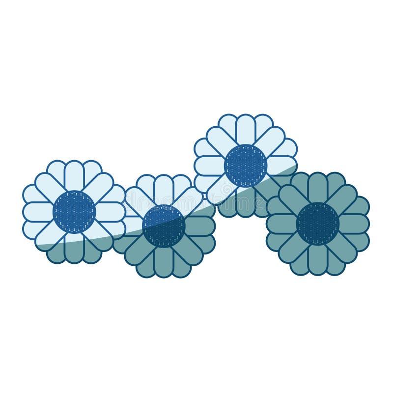 La siluetta d'ombreggiatura blu dei girasoli astratti modella multicolore illustrazione vettoriale