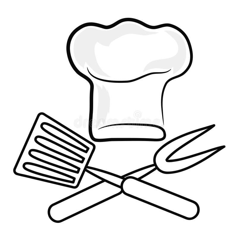 La siluetta del cappello del cuoco unico e l'icona della coltelleria dell'utensile della torrefazione vector il ill royalty illustrazione gratis
