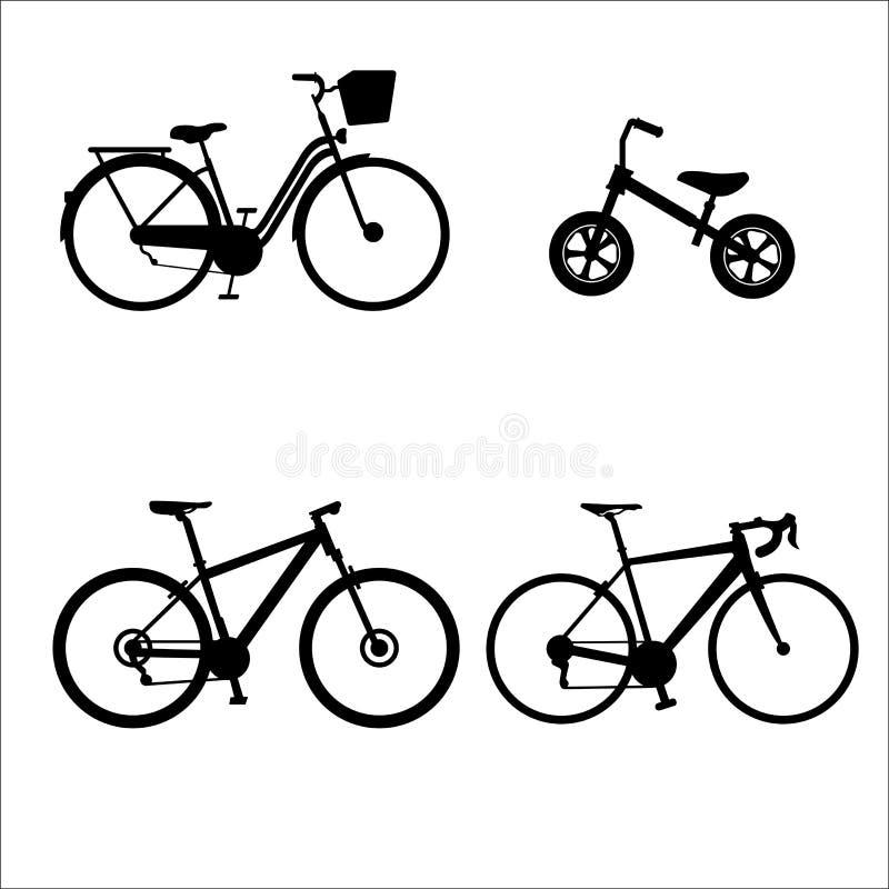 La siluetta del gruppo della bicicletta ha variato fotografia stock
