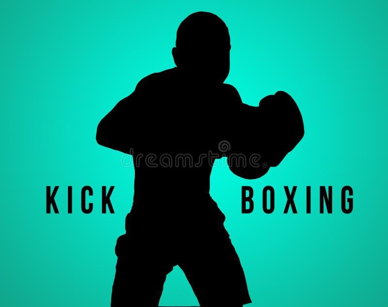 La siluetta del kickboxing del giovane sul nero immagini stock
