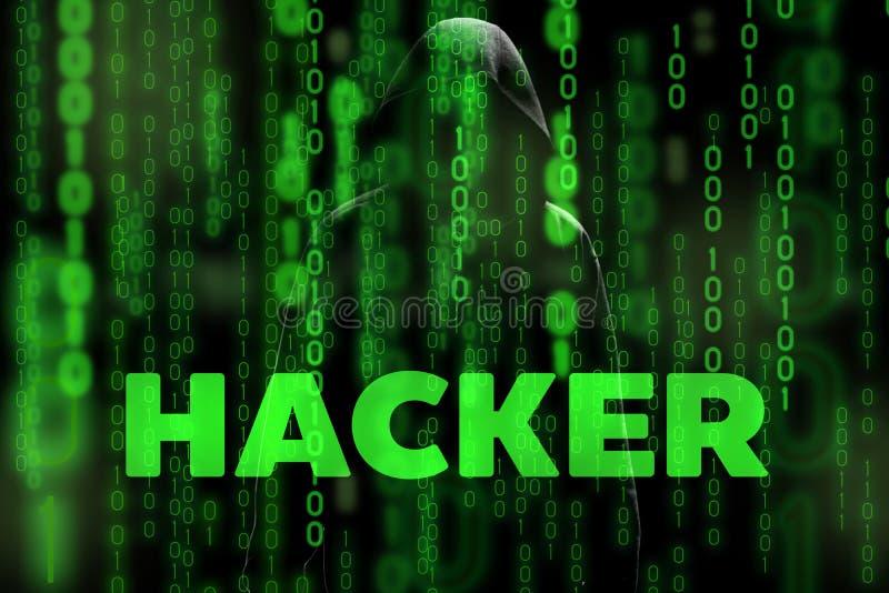 La siluetta del pirata informatico di computer dell'uomo incappucciato con sicurezza dello schermo e della rete di dati binari de fotografia stock libera da diritti