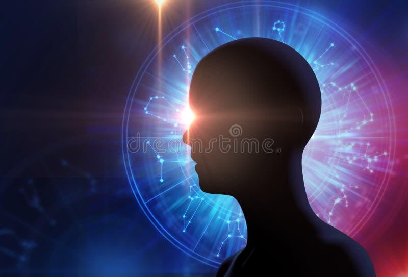 La siluetta dell'essere umano virtuale sull'astrologia e l'alchemia firmano illustrazione di stock