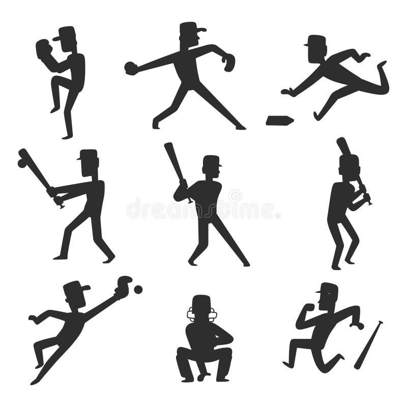 La siluetta dell'uomo di sport di vettore del giocatore di squadra di baseball nel gioco uniforme posa il carattere sportivo dell illustrazione di stock