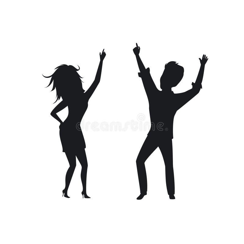 La siluetta della donna dell'uomo, dancing della discoteca delle coppie, clubbing ha isolato il vettore illustrazione di stock