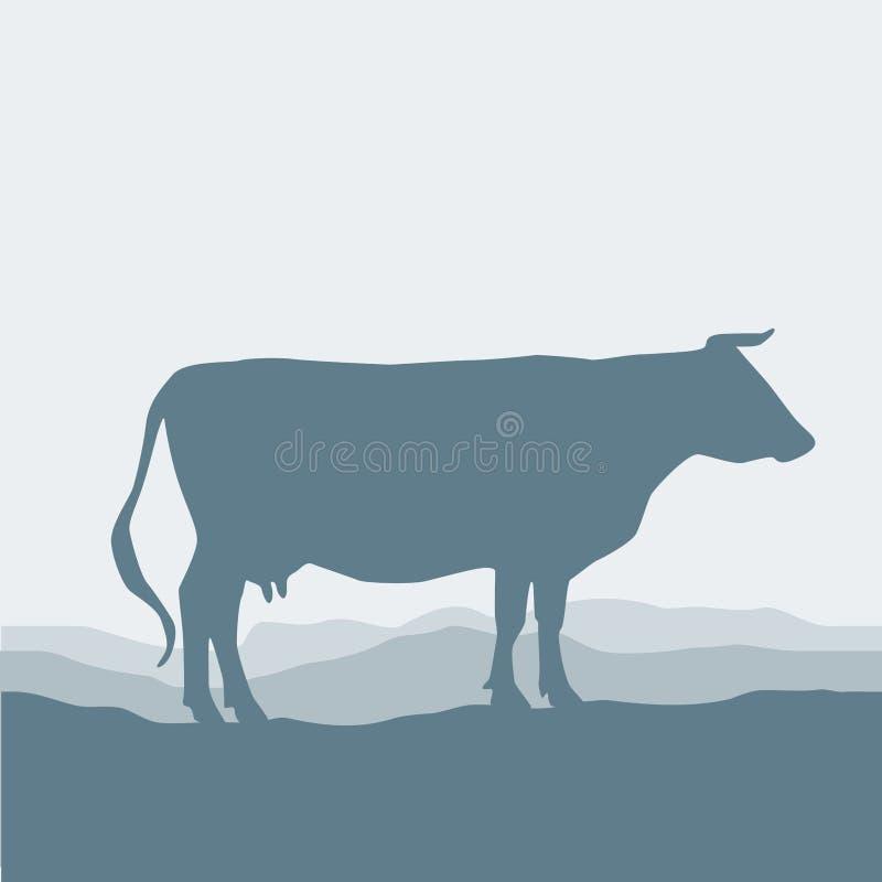 La siluetta della mucca pasce nel campo, il paesaggio, il cielo, l'erba, pascolo Fondo blu e grigio Vettore illustrazione vettoriale