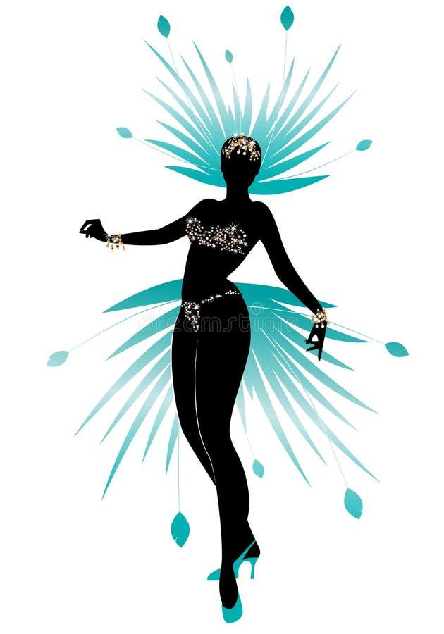 La siluetta della ragazza vestita come una stella ha messo le piume al carnevale, al teatro di varietà o alla rivista musicale illustrazione di stock