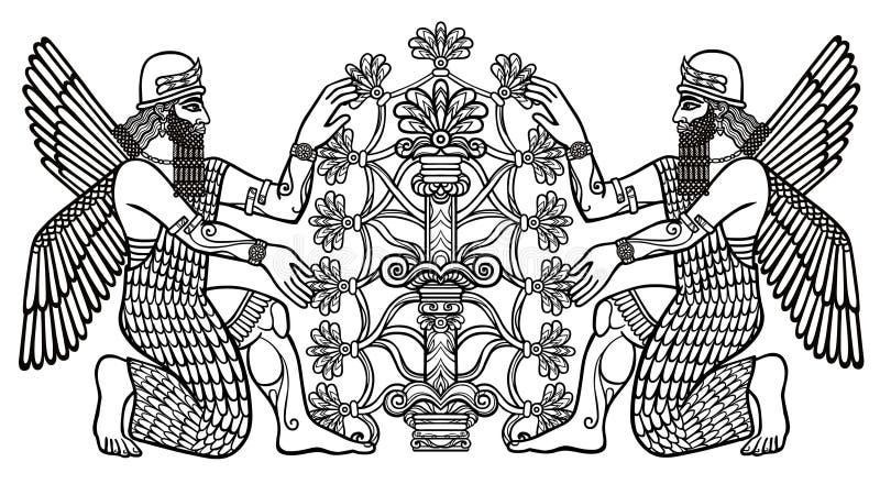 La siluetta delle divinità Assyrian raccoglie i frutti da un albero fantastico royalty illustrazione gratis