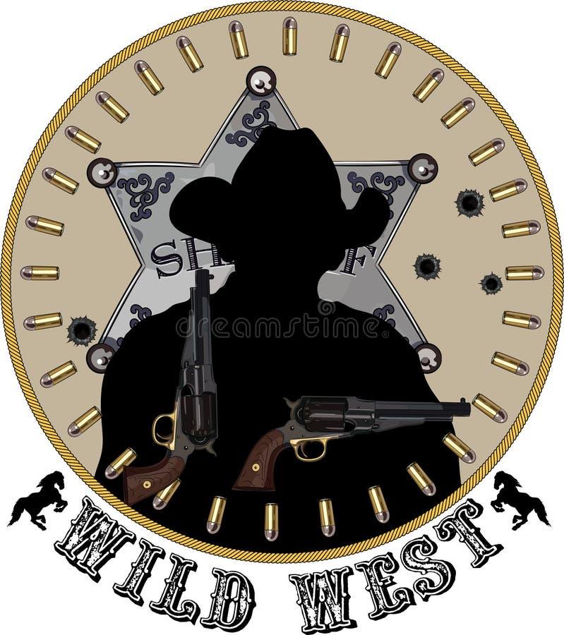 La siluetta dello sceriffo con le pistole a disposizione contro lo sfondo dello Sheriff& x27; stella e pallottole di s illustrazione di stock