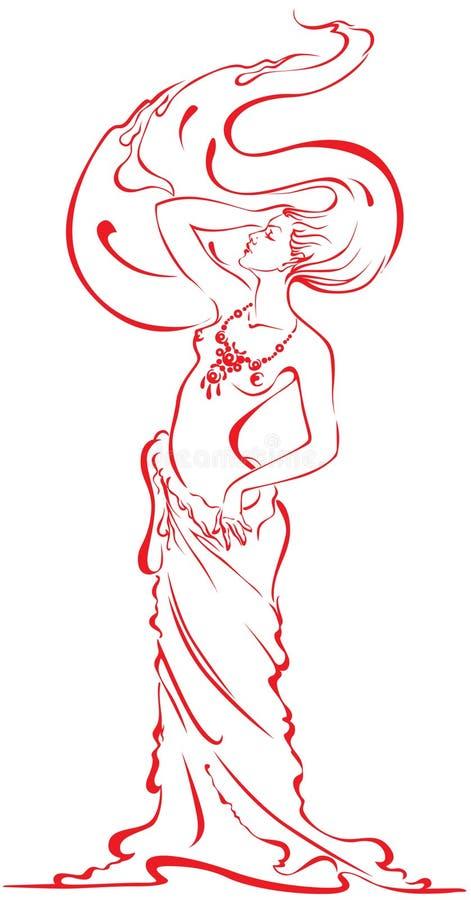 La siluetta di bella donna nuda gradice una candela illustrazione di stock