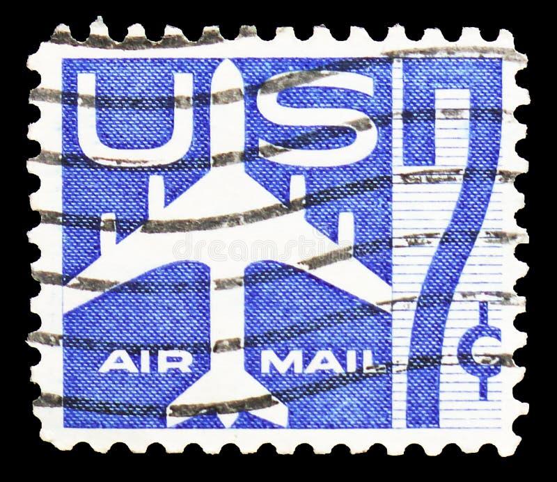 La siluetta di Jet Airliner, spedisce il serie per posta aerea 1952-1967, circa 1958 immagine stock