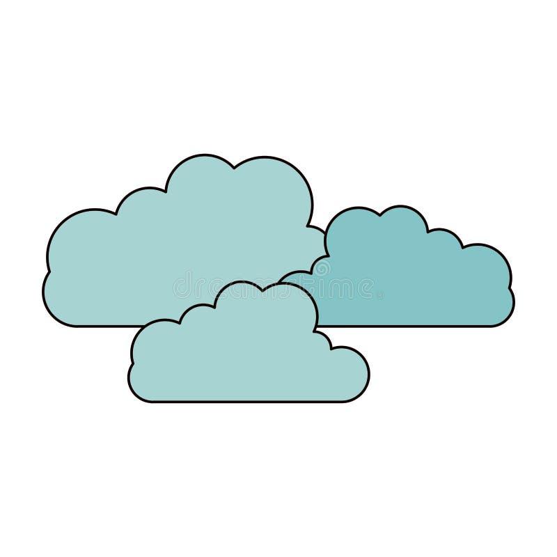 La siluetta di schizzo di colore ha fissato la forma della nuvola nell'icona del cumulo royalty illustrazione gratis