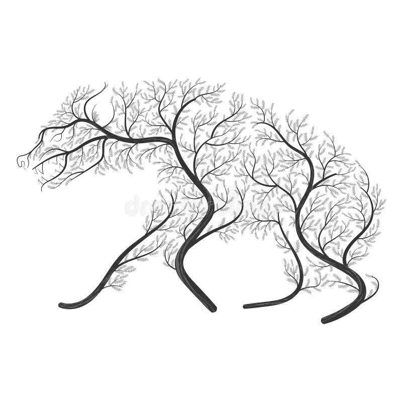 La siluetta di un'iena ha stilizzato dai cespugli su un fondo bianco illustrazione di stock