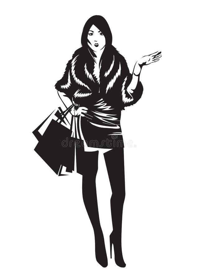 La siluetta di una ragazza con i sacchetti della spesa Illustrazione di vettore illustrazione di stock