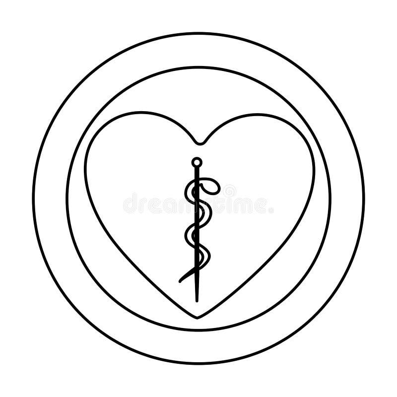 la siluetta monocromatica di cuore dentro di doppio cerchio con il serpente di asclepius si è arrotolata royalty illustrazione gratis