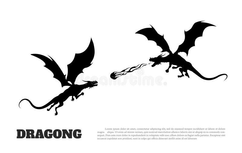 La siluetta nera dei draghi combatte su fondo bianco Mostro di fantasia Racconti del ` s del cavaliere illustrazione di stock
