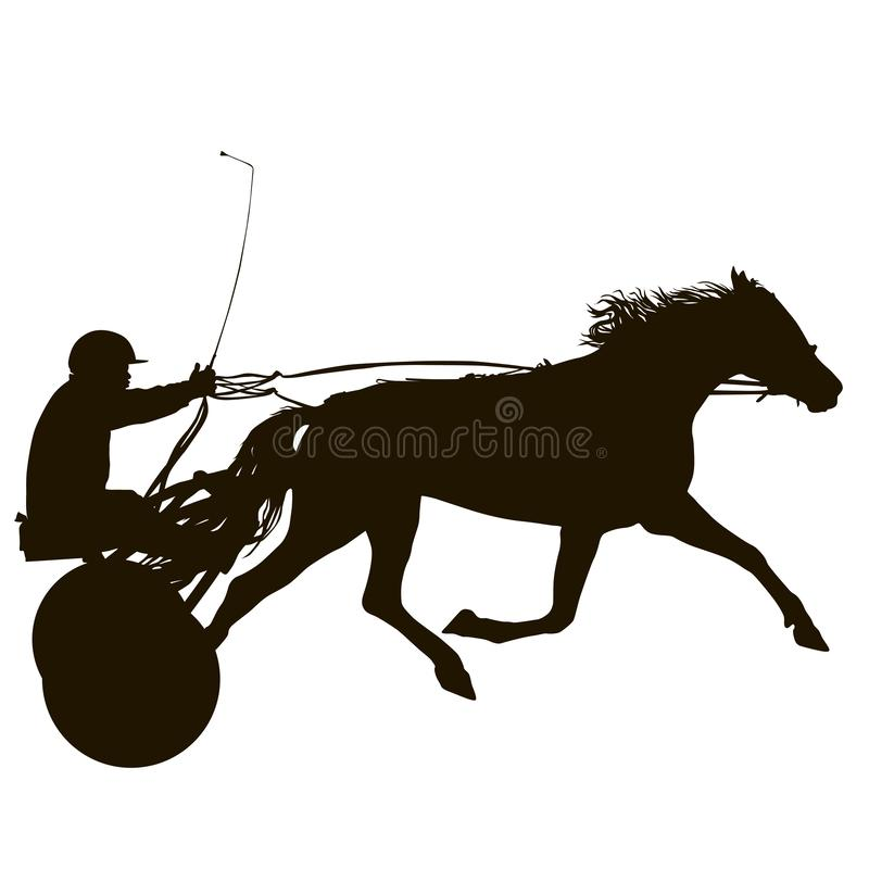 La siluetta nera del cavallo e della puleggia tenditrice illustrazione vettoriale