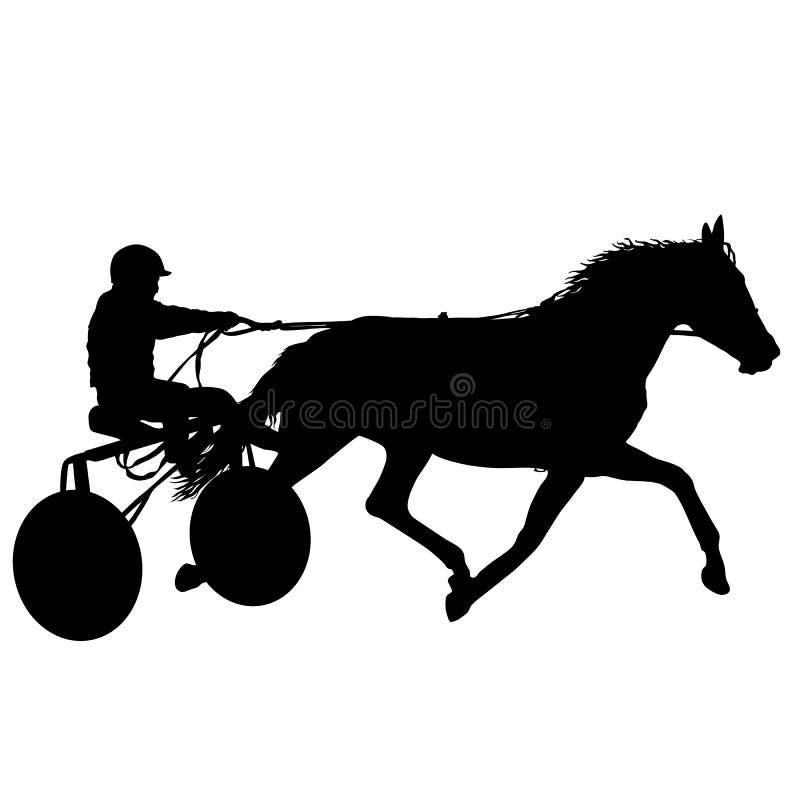 La siluetta nera del cavallo e della puleggia tenditrice royalty illustrazione gratis