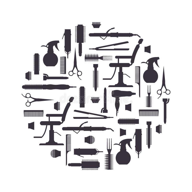 La siluetta nera del parrucchiere obietta nello stile piano isolato illustrazione vettoriale