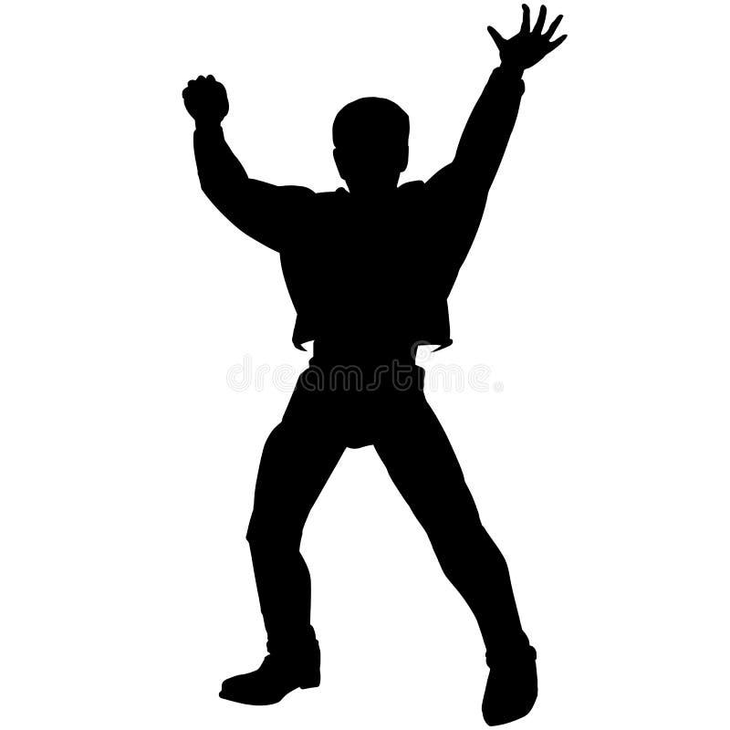 La siluetta nera delle mani del ragazzo della discoteca su posa illustrazione vettoriale