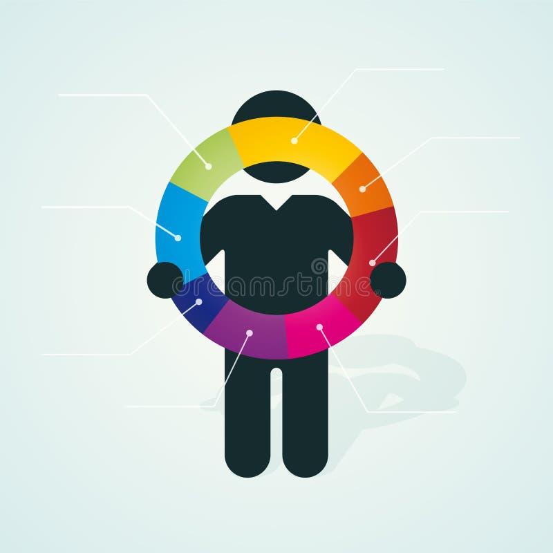La siluetta nera di un uomo tiene il diagramma a torta di colore illustrazione di stock