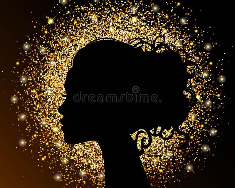 La siluetta nera di una ragazza su un fondo dell'oro, sabbia, stagnola friabile di struttura La progettazione luminosa di un salo illustrazione vettoriale