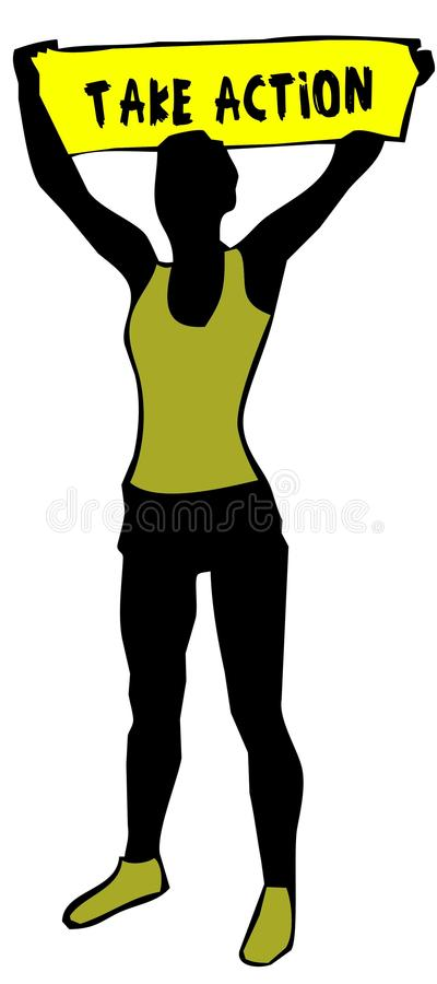 La siluetta sportiva della donna che tiene un segno giallo dell'insegna con AGISCE il testo royalty illustrazione gratis