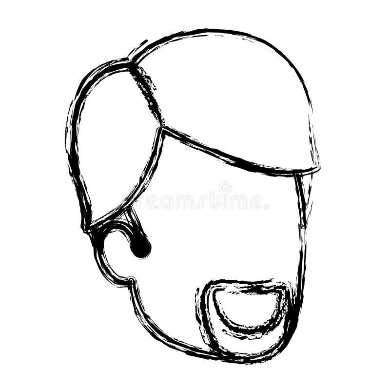 La siluetta vaga dell'uomo anonima con la barba ed il lato di van dyke ha separato i capelli royalty illustrazione gratis
