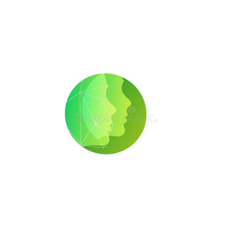 La siluetta verde due affronta il modello rotondo di logo di vettore per i cosmetici naturali, saloni di bellezza per cura di pel illustrazione di stock