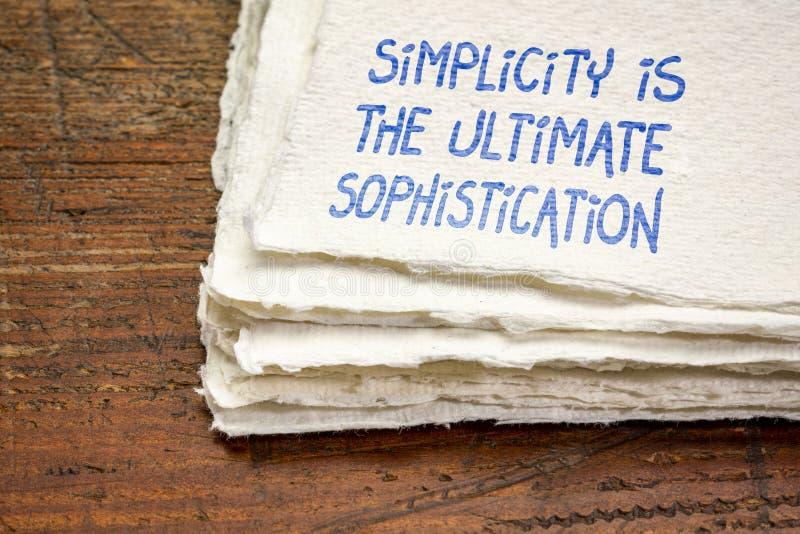 La simplicit? est la sophistication finale photographie stock libre de droits