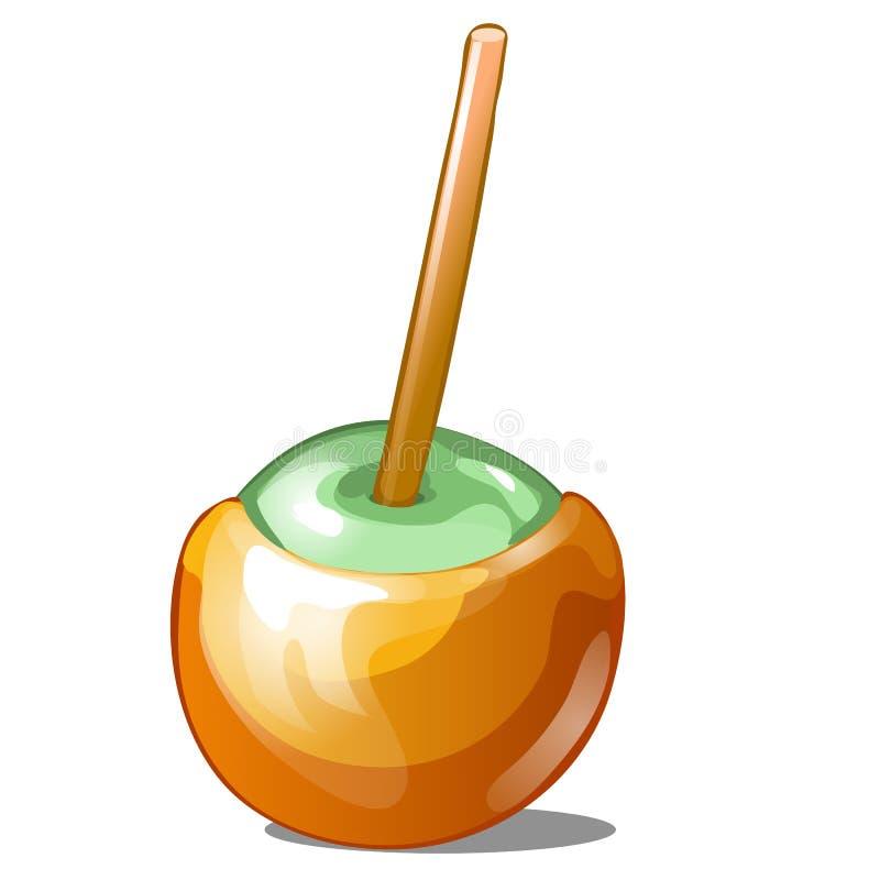 La singola mela di caramella ha immerso in caramello con il bastone isolato su fondo bianco La dolcezza fatta a mano è mela della illustrazione di stock