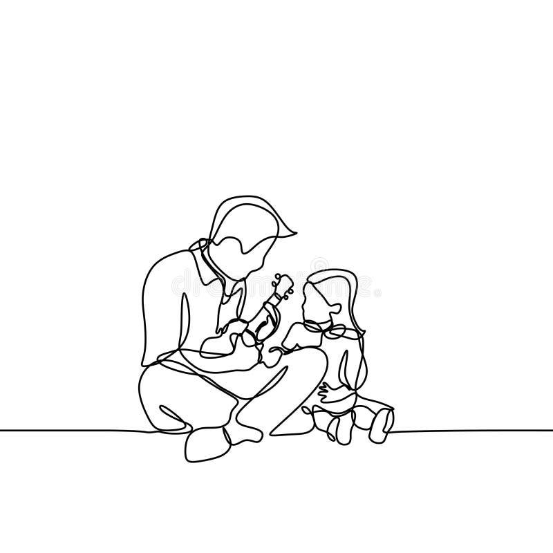 la singola una linea tirata continua chitarra del gioco del padre e canta una canzone alla sua immagine a mano disegnata figlia L royalty illustrazione gratis