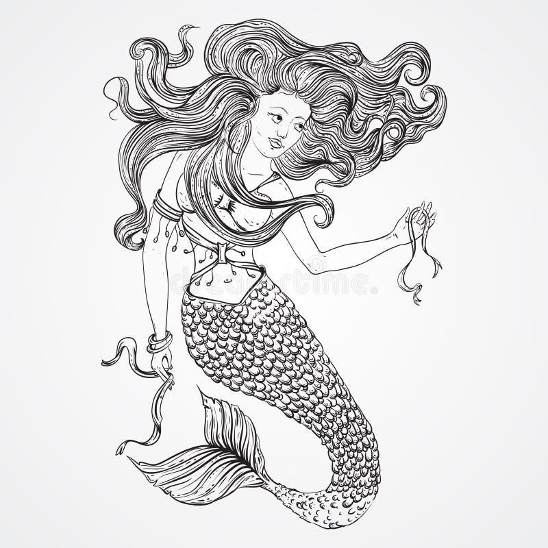 La sirène avec de beaux cheveux tient des rubans Tatouage Art Rétro bannière, invitation, carte, réservation de chute T-shirt, sa illustration libre de droits