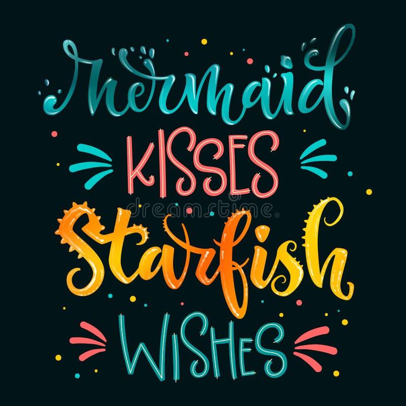 La sir?ne embrasse des ?toiles de mer que les souhaits remettent la citation de lettrage d'aspiration Rose d'isolement, expressio illustration libre de droits