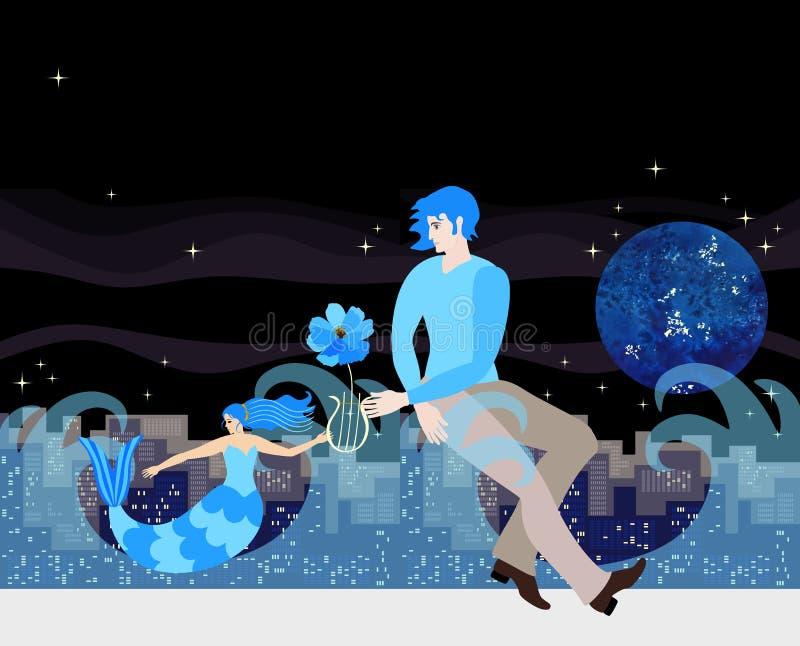 La sirena con corte de pelo bajo la forma de reglas musicales da la lira al hombre joven al compositor en el fondo de la ciudad d libre illustration