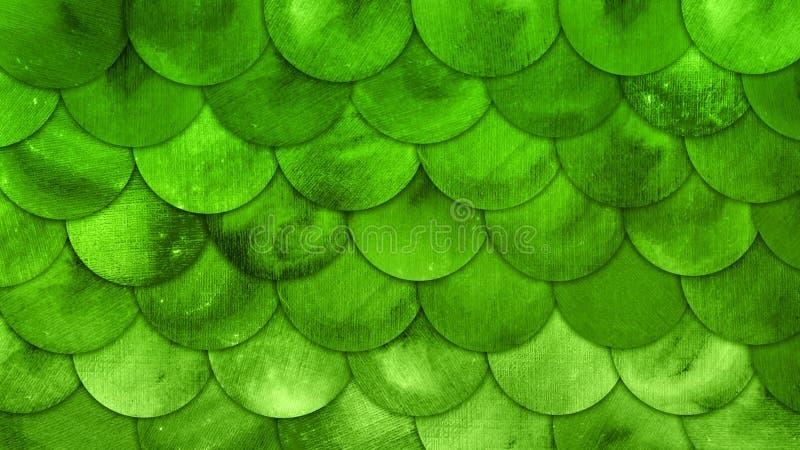 La sirena escala el fondo del Grunge del verde del squame de los pescados de la acuarela stock de ilustración