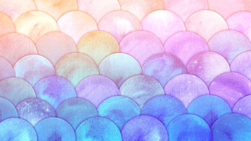 La sirena mágica escala el fondo del squame de los pescados de la acuarela Modelo rosado y azul del verano brillante del mar con  ilustración del vector