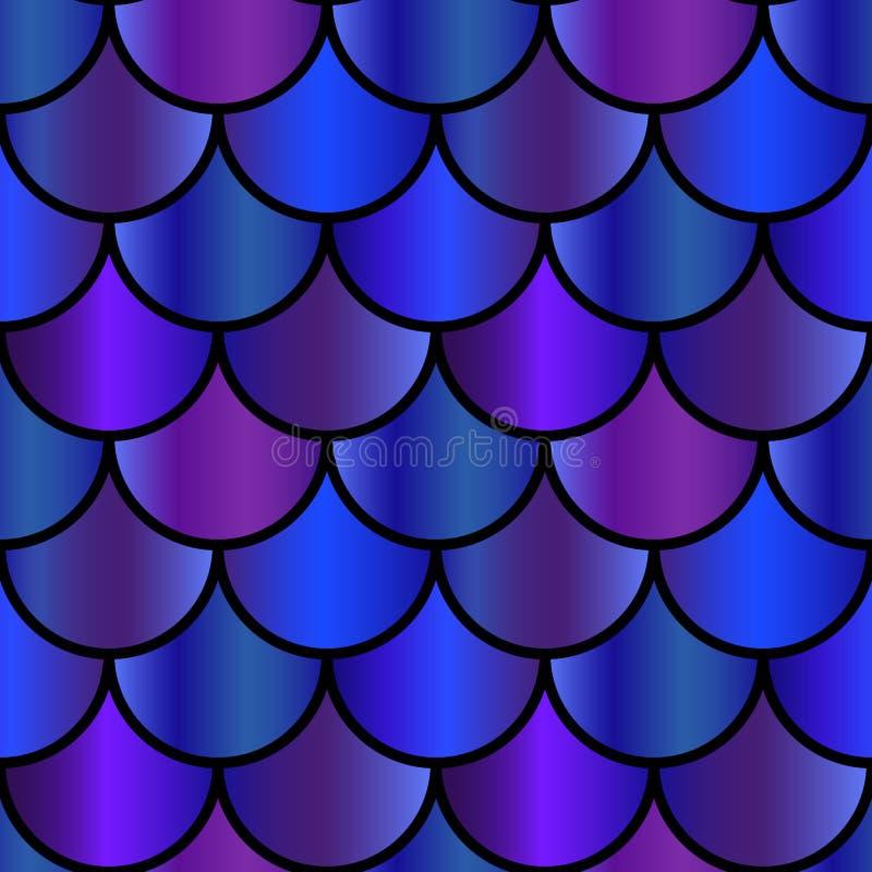 La sirena porpora ed il blu riporta in scala il modello senza cuciture illustrazione vettoriale