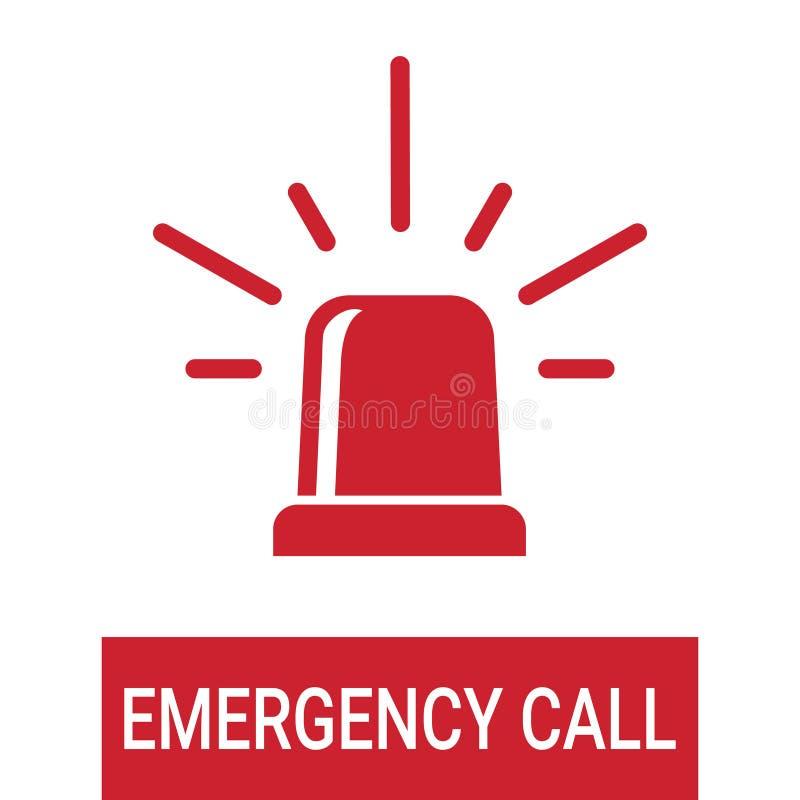 La sirena roja el interruptor intermitente de la policía o de la ambulancia, llamada de emergencia aisló en un fondo blanco Ejemp ilustración del vector