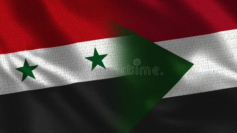 La Siria ed il Sudan - bandiera due insieme - struttura del tessuto immagine stock libera da diritti