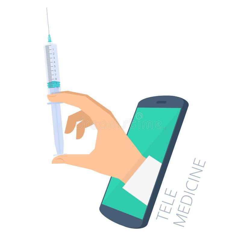 La siringa della tenuta della mano del ` s di medico tramite lo schermo del telefono fa il inj illustrazione di stock