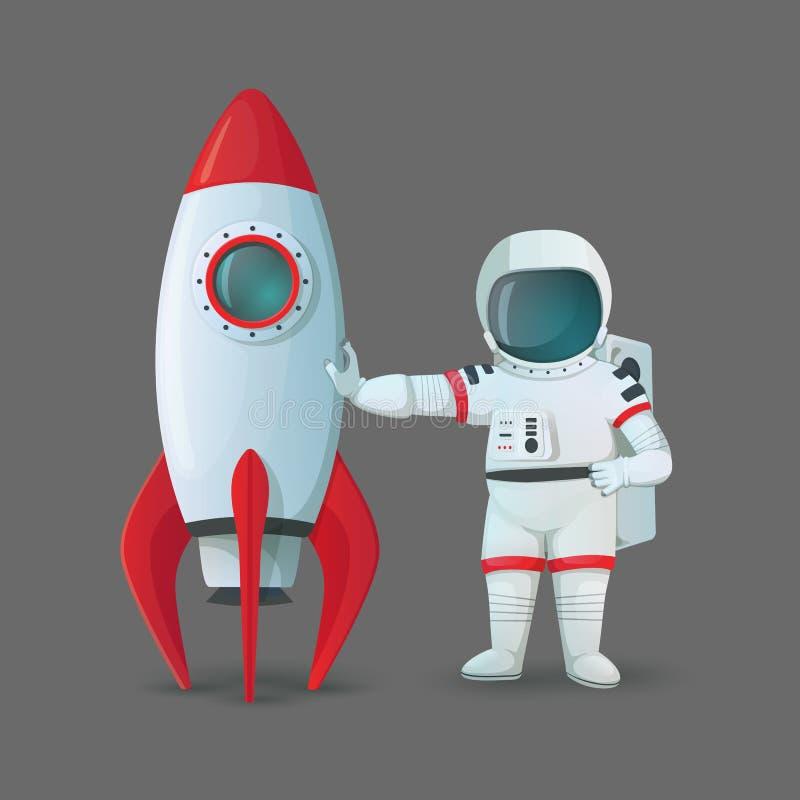 La situación del astronauta cerca de la nave del cohete y el tacto de ella aislaron en un fondo gris stock de ilustración