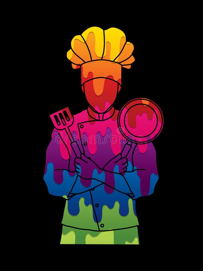 La situación del cocinero del cocinero cruzó los brazos con la cacerola y la espátula ilustración del vector