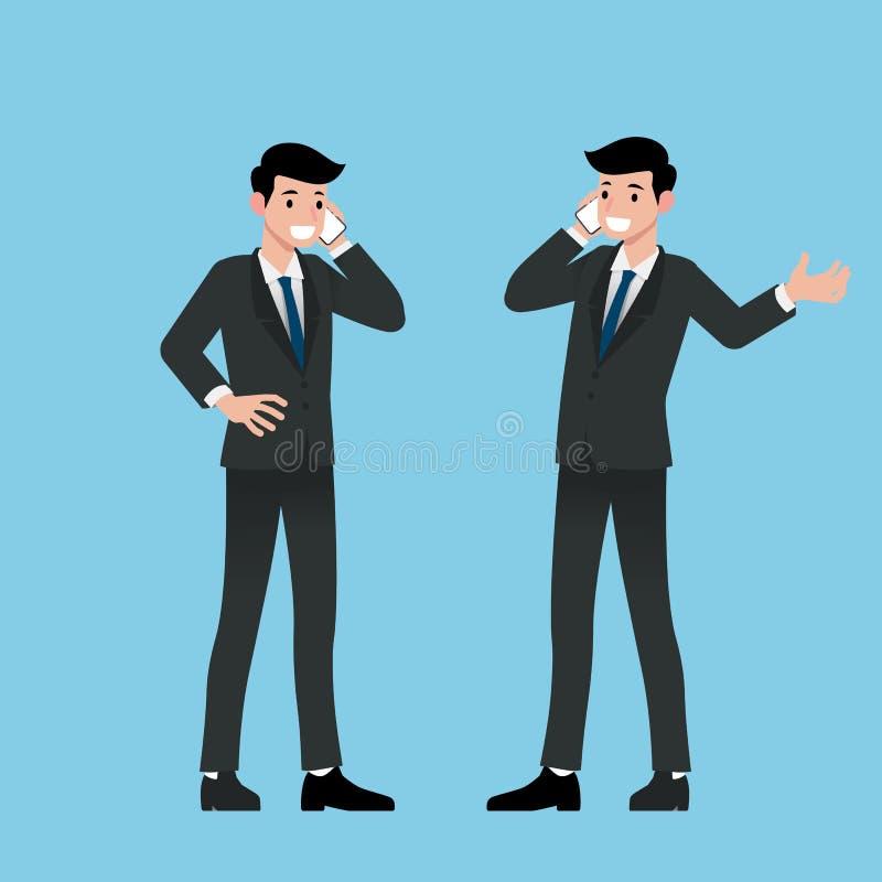 La situación del hombre de negocios y hace una llamada con su teléfono elegante para comunicar con el otro para el negocio y para ilustración del vector
