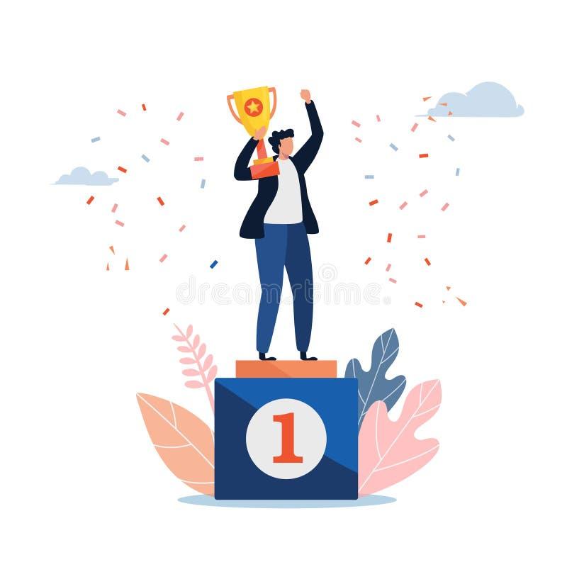 La situación del hombre en un pedestal de los ganadores con una taza de oro Ejemplo del vector de la gente Dise?o gr?fico del per ilustración del vector